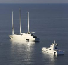 motor yacht and sailing yacht A