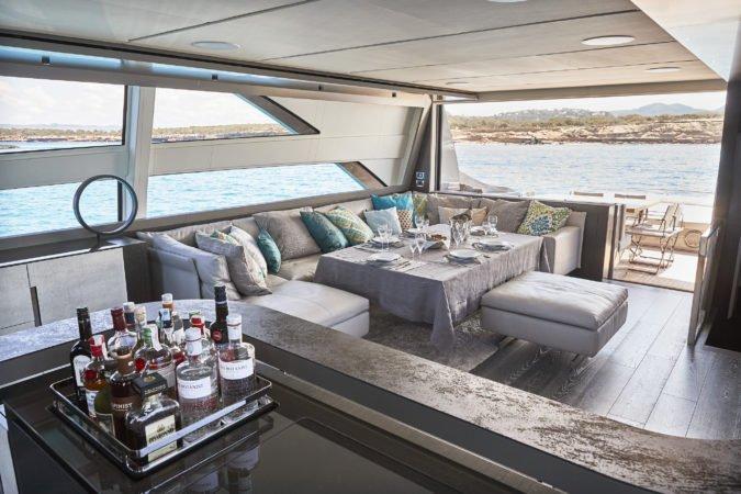 saloon pershing 9X baloo yacht charter ibiza