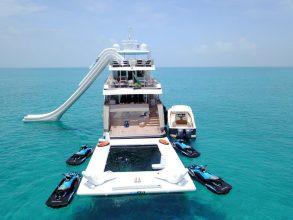yacht sea pools against jellyfish