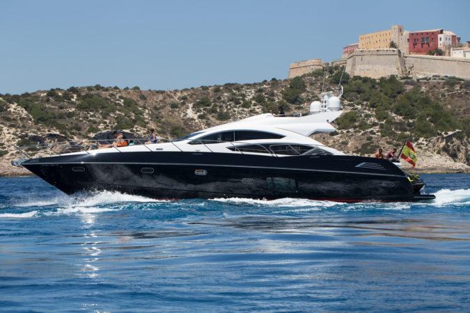 yacht ibiza sunseeker 74 black jax